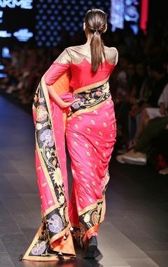 rust embroidered sari