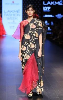 Maroon embroidered sari