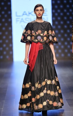 Black and gold embroidered lehenga