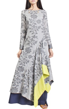 Light grey floral handwoven jamdani tunic with indigo skirt