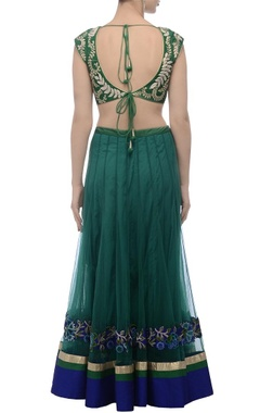 Green & blue embroidered lehenga