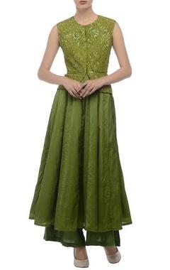 Green embroidered peplum kurta set