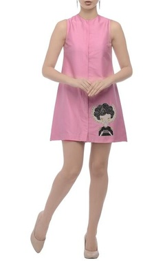 Pale pink embroidered motif dress