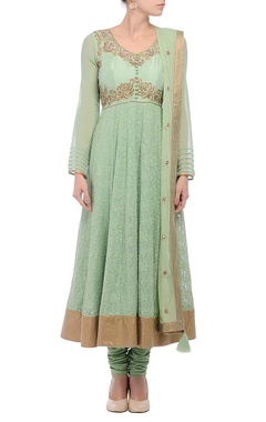 Green & gold embroidered accent anarkali
