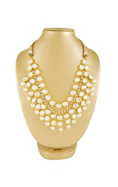 Gold plated kundan & pearl layered necklace