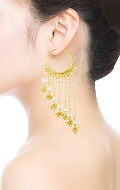 golden pearl embellished hoop dangler earrings