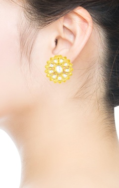 Gold kundan embellished drop earrings