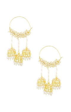 golden pearl embellished hoop earrings