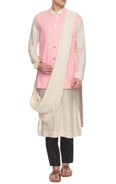 Pink pin tucked bandi jacket set
