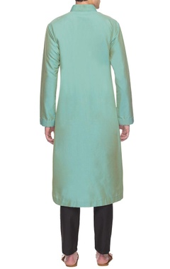 mint green overlapped kurta bandi set