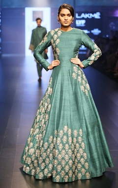 Emerald green embroidered anarkali