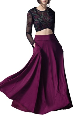 Wine & black embroidered lehenga