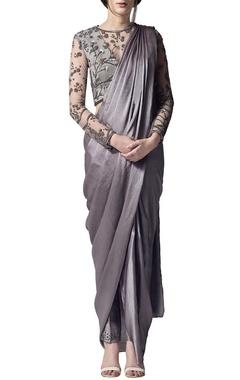 Silver draped sari