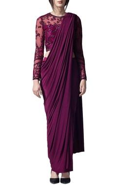 Wine draped sari