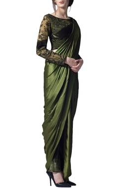 Olive green draped sari