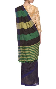 Blue striped handwoven sari