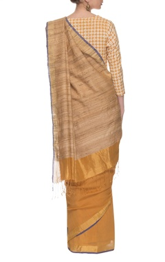 Yellow, beige & blue handwoven sari