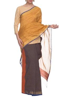 Yellow, red & blue handwoven sari