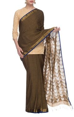 Dusky brown handwoven sari with golden border