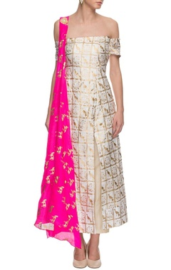 Ivory off-shouldered printed kurta set