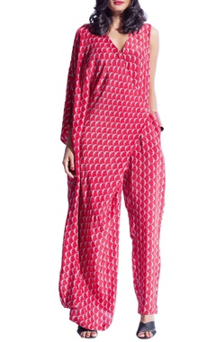 Red & grey draped printed jumpsuit