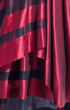 Metallic maroon & black striped long jacket