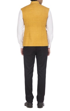 Yellow textured nehru jacket