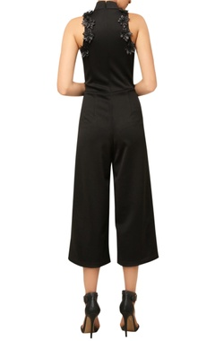 Black 3D embroidered jumpsuit