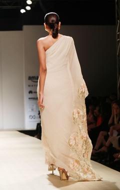 apricot floral embellished one shoulder gown