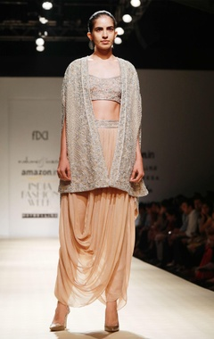 Sand drape dhoti with sequined bustier & cape