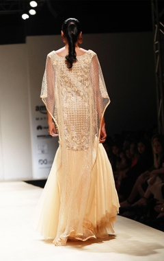 Honey embellished poof gown & mesh cape