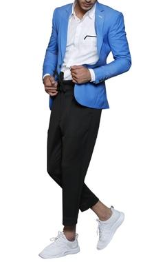cobalt blue notch-collared blazer