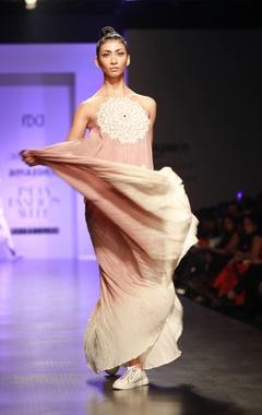 Beige & creme chakra embroidered maxi dress