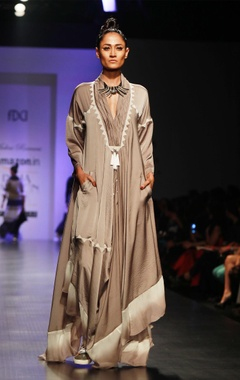 Malini Ramani Grey & white embroidered long kaftan dress
