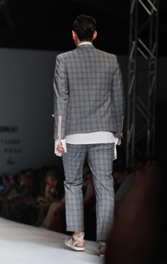 grey chequered jacket with powder pink accents