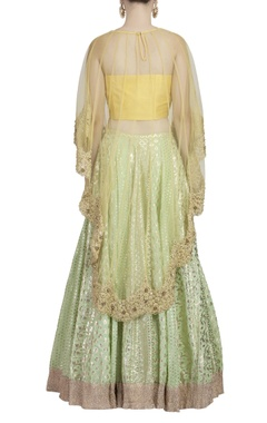 Mint green lehenga set with golden embroidered cape