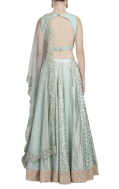 Aqua blue & gold embroidered lehenga set