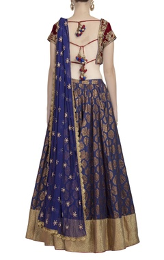 Red & midnight blue pearl-embellished lehenga set