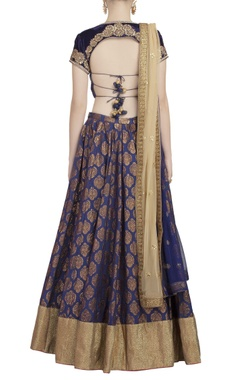 Midnight blue lehenga set with golden embellished dupatta