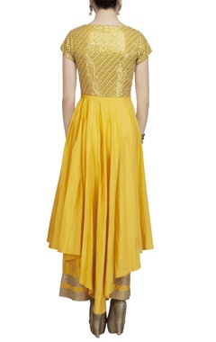 yellow & gold front open slit kurta set