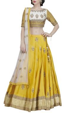 Yellow & gold embroidered lehenga set