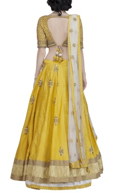 yellow & gold embroidered lehenga set