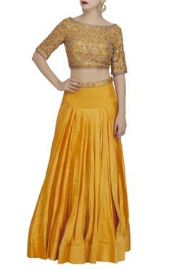 Yellow & gold embroidered blouse & lehenga set