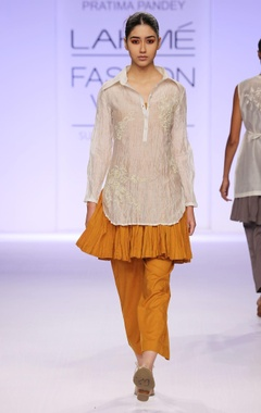 Mustard & white embroidered  tunic with palazzo