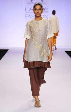 Brown & white embroidered tunic with palazzo