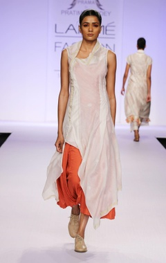 White & orange layered kurta with palazzo