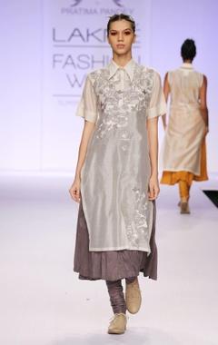 Grey & white embroidered kurta with churidar