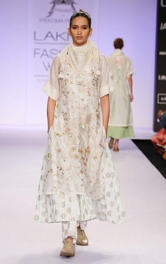 White embroidered & printed kurta with palazzo