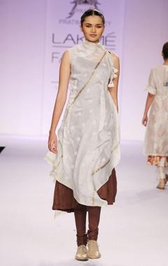 White & brown embroidered kurta with churidar