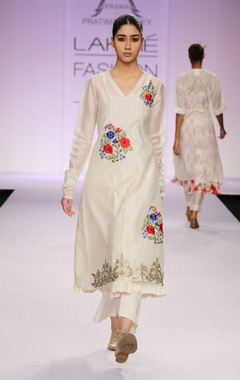 white floral thread work kurta with palazzo